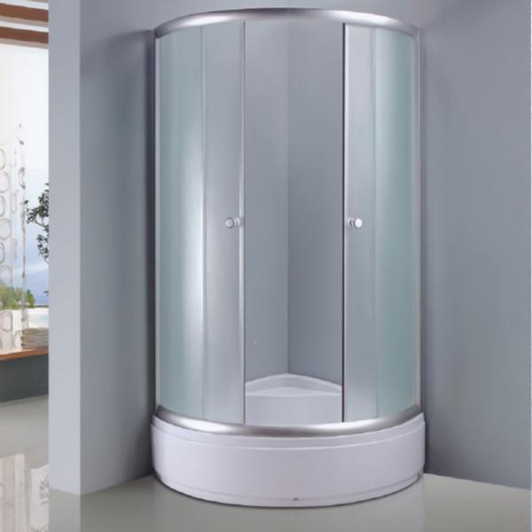 扇形布纹钢化玻璃简易房-LX-1011