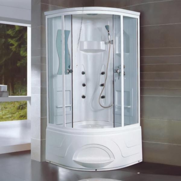 曲型玻璃白色淋浴房-LX-2003