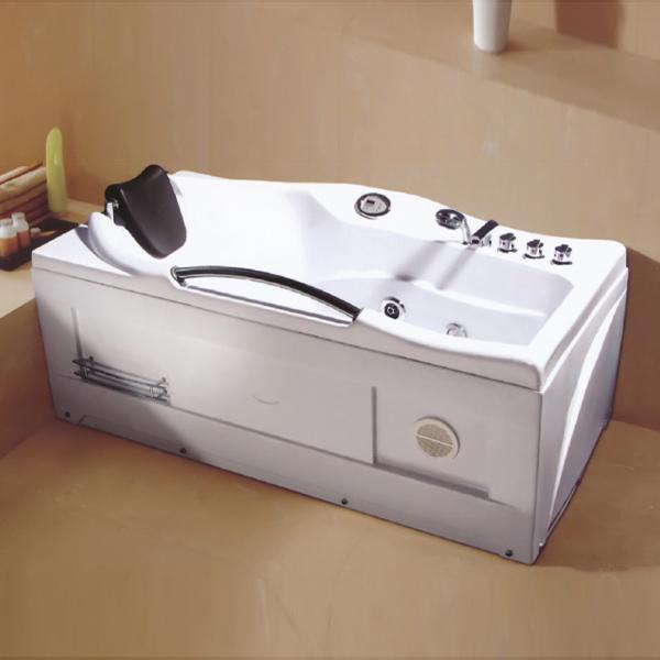带置物架的白色按摩浴缸-LX-226