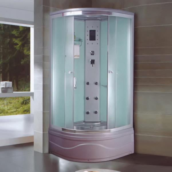 灰色ABS材料布纹玻璃淋浴房-LX-5040