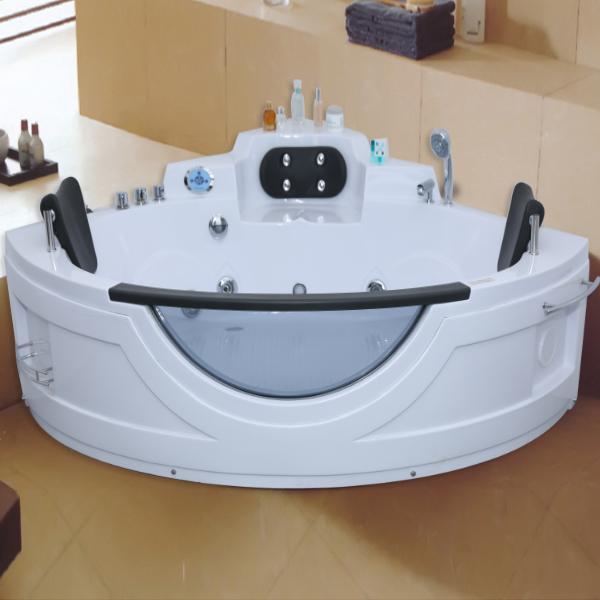 带台阶的亚克力扇形按摩浴缸